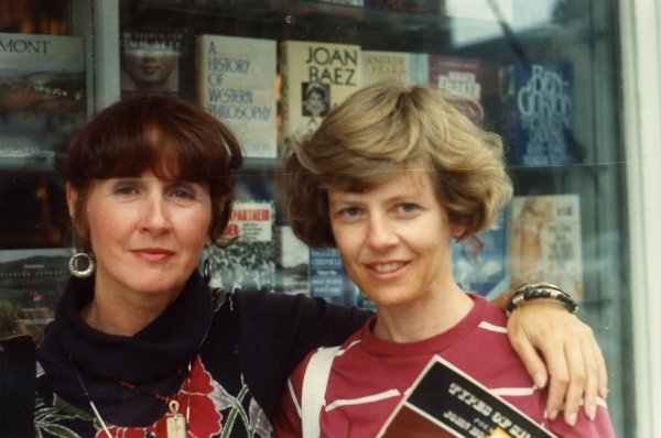 25 Jane and Dianna in front of book-store in Montpelier, VT.